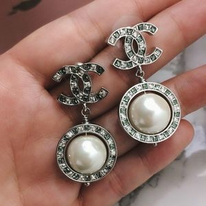 Big pearl drop Chanel earrings